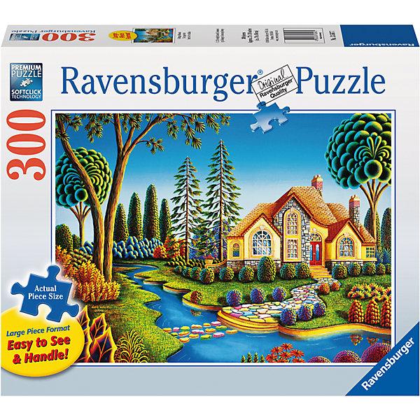 Пазл «Дом мечты»  300 штПазлы до 500 деталей<br>Характеристики:<br><br>• тип игрушки: пазл;<br>• комплектация: 300 эл;<br>• размер картинки: 68х50 см;<br>• бренд: Ravensburger;<br>• упаковка: картон;<br>• размер: 34х6х23 см;<br>• вес: 889 гр;<br>• возраст: от 6 лет;<br>• материал: картон.<br><br>Пазл «Дом мечты» 300 элемента представляет из себя увлекательную игру для детей от шести лет. Набор состоит из 300 деталей, выполненных из высококачественного картона. Из них предлагается собрать изображение красивого сказочного домика, который стоит у реки в окружении красивого сада из больших ветвистых деревьев.           <br>Головоломки Ravensburger всегда отличаются высоким качеством полиграфии, изготовлены из экологичного сырья. Рисунок имеет матовую поверхность без бликов, напечатан на ламинированной бумаге. Пазл сделан из плотного картона, с нанесением красочного рисунка и аккуратной вырубкой деталей с четкими гладкими краями, которые позволяют легко состыковывать элементы пазла между собой. <br>Сборка данного пазла сможет увлечь детей и поспособствовать развитию логического мышления и усидчивости.  Они также развивают образное мышление, наблюдательность и внимательность, а также мелкую моторику и координацию движений рук.<br>Пазл «Дом мечты» 300 элемента можно купить в нашем интернет-магазине.<br>Ширина мм: 340; Глубина мм: 60; Высота мм: 230; Вес г: 889; Возраст от месяцев: -2147483648; Возраст до месяцев: 2147483647; Пол: Унисекс; Возраст: Детский; SKU: 7376957;