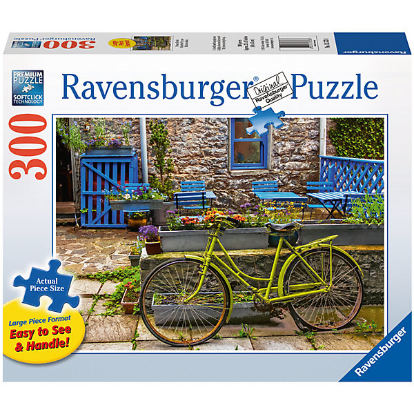 Пазл «Винтажный велосипед»  300 штПазлы классические<br>Характеристики:<br><br>• тип игрушки: пазл;<br>• комплектация: 300 эл;<br>• размер картинки: 68х50 см;<br>• бренд: Ravensburger;<br>• упаковка: картон;<br>• размер: 34х6х23 см;<br>• вес: 875 гр;<br>• возраст: от 6 лет;<br>• материал: картон.<br><br>Пазл «Винтажный велосипед» 300 элемента представляет из себя увлекательную игру для детей от шести лет. Набор состоит из 300 деталей, выполненных из высококачественного картона. Из них предлагается собрать изображение красивого винтажного велосипеда, который стоит на одной из милых улочек старого европейского городка.              <br>Головоломки Ravensburger всегда отличаются высоким качеством полиграфии, изготовлены из экологичного сырья. Рисунок имеет матовую поверхность без бликов, напечатан на ламинированной бумаге. Пазл сделан из плотного картона, с нанесением красочного рисунка и аккуратной вырубкой деталей с четкими гладкими краями, которые позволяют легко состыковывать элементы пазла между собой. <br>Сборка данного пазла сможет увлечь детей и поспособствовать развитию логического мышления и усидчивости.  Они также развивают образное мышление, наблюдательность и внимательность, а также мелкую моторику и координацию движений рук.<br>Пазл «Винтажный велосипед» 300 элемента можно купить в нашем интернет-магазине.<br><br>Ширина мм: 340<br>Глубина мм: 60<br>Высота мм: 230<br>Вес г: 875<br>Возраст от месяцев: -2147483648<br>Возраст до месяцев: 2147483647<br>Пол: Унисекс<br>Возраст: Детский<br>SKU: 7376960