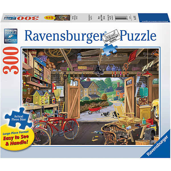 Пазл «У дедушки в гараже»  300 штПазлы классические<br>Характеристики:<br><br>• тип игрушки: пазл;<br>• комплектация: 300 эл;<br>• размер картинки: 68х50 см;<br>• бренд: Ravensburger;<br>• упаковка: картон;<br>• размер: 34х6х23 см;<br>• вес: 880 гр;<br>• возраст: от 6 лет;<br>• материал: картон.<br><br>Пазл «У дедушки в гараже» 300 элемента представляет из себя увлекательную игру для детей от шести лет. Набор состоит из 300 деталей, выполненных из высококачественного картона. Из них предлагается собрать изображение дедушкиного гаража, в котором кроме машины и инструментов еще множество детских игрушек.               <br>Головоломки Ravensburger всегда отличаются высоким качеством полиграфии, изготовлены из экологичного сырья. Рисунок имеет матовую поверхность без бликов, напечатан на ламинированной бумаге. Пазл сделан из плотного картона, с нанесением красочного рисунка и аккуратной вырубкой деталей с четкими гладкими краями, которые позволяют легко состыковывать элементы пазла между собой. <br>Сборка данного пазла сможет увлечь детей и поспособствовать развитию логического мышления и усидчивости.  Они также развивают образное мышление, наблюдательность и внимательность, а также мелкую моторику и координацию движений рук.<br>Пазл «У дедушки в гараже» 300 элемента можно купить в нашем интернет-магазине.<br>Ширина мм: 340; Глубина мм: 60; Высота мм: 230; Вес г: 880; Возраст от месяцев: -2147483648; Возраст до месяцев: 2147483647; Пол: Унисекс; Возраст: Детский; SKU: 7376961;