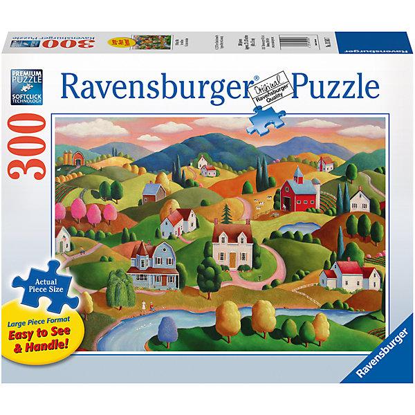 Пазл «Холмы»  300 штПазлы классические<br>Характеристики:<br><br>• тип игрушки: пазл;<br>• комплектация: 300 эл;<br>• размер картинки: 68х50 см;<br>• бренд: Ravensburger;<br>• упаковка: картон;<br>• размер: 34х6х23 см;<br>• вес: 930 гр;<br>• возраст: от 6 лет;<br>• материал: картон.<br><br>Пазл «Холмы» 300 элемента представляет из себя увлекательную игру для детей от шести лет. Набор состоит из 300 деталей, выполненных из высококачественного картона. Из них предлагается собрать изображение красивой деревушки с веселыми домиками, расположенными на холмах.                 <br>Головоломки Ravensburger всегда отличаются высоким качеством полиграфии, изготовлены из экологичного сырья. Рисунок имеет матовую поверхность без бликов, напечатан на ламинированной бумаге. Пазл сделан из плотного картона, с нанесением красочного рисунка и аккуратной вырубкой деталей с четкими гладкими краями, которые позволяют легко состыковывать элементы пазла между собой. <br>Сборка данного пазла сможет увлечь детей и поспособствовать развитию логического мышления и усидчивости.  Они также развивают образное мышление, наблюдательность и внимательность, а также мелкую моторику и координацию движений рук.<br>Пазл «Холмы» 300 элемента можно купить в нашем интернет-магазине.<br><br>Ширина мм: 340<br>Глубина мм: 60<br>Высота мм: 230<br>Вес г: 930<br>Возраст от месяцев: -2147483648<br>Возраст до месяцев: 2147483647<br>Пол: Унисекс<br>Возраст: Детский<br>SKU: 7376963