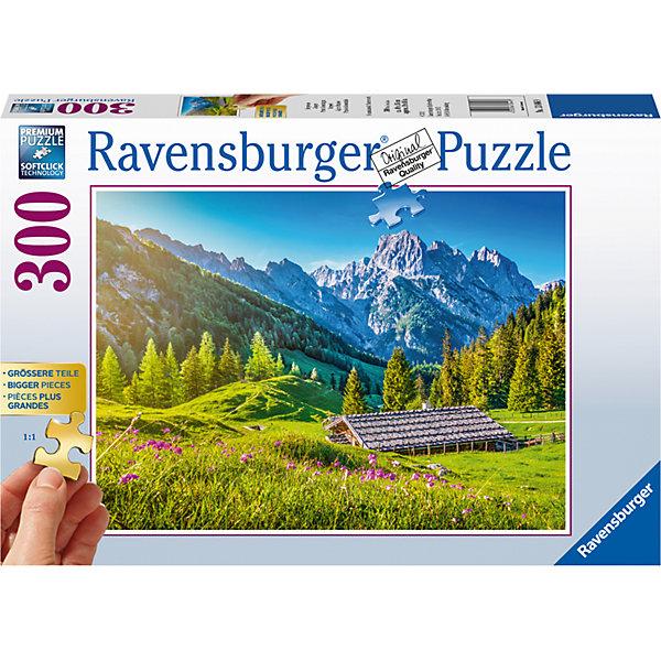 Пазл «Альпийские луга» 300 штПазлы до 500 деталей<br>Характеристики:<br><br>• тип игрушки: пазл;<br>• комплектация: 300 эл;<br>• размер картинки: 49х36 см;<br>• бренд: Ravensburger;<br>• упаковка: картон;<br>• размер: 34х4х23 см;<br>• вес: 657 гр;<br>• возраст: от 6 лет;<br>• материал: картон.<br><br>Пазл «Альпийские луга» 300 элементов представляет из себя увлекательную игру для детей от шести лет. Набор состоит из 300 деталей, выполненных из высококачественного картона. Из них предлагается собрать изображение одной из самых красивых частей мира – Альпийских гор и лугов.  <br>Головоломки Ravensburger всегда отличаются высоким качеством полиграфии, изготовлены из экологичного сырья. Рисунок имеет матовую поверхность без бликов, напечатан на ламинированной бумаге. Пазл сделан из плотного картона, с нанесением красочного рисунка и аккуратной вырубкой деталей с четкими гладкими краями, которые позволяют легко состыковывать элементы пазла между собой. Сборка данного пазла сможет увлечь детей и поспособствовать развитию логического мышления и усидчивости.  Они также развивают образное мышление, наблюдательность и внимательность, а также мелкую моторику и координацию движений рук.<br>Пазл «Альпийские луга» 300 элементов можно купить в нашем интернет-магазине.<br>Ширина мм: 340; Глубина мм: 40; Высота мм: 230; Вес г: 657; Возраст от месяцев: -2147483648; Возраст до месяцев: 2147483647; Пол: Унисекс; Возраст: Детский; SKU: 7376965;