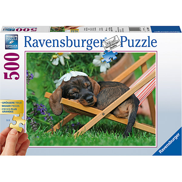 Пазл Милая такса 500 штСимвол года<br>Характеристики:<br><br>• тип игрушки: пазл;<br>• комплектация: 500 эл;<br>• бренд: Ravensburger;<br>• упаковка: картон;<br>• размер: 34х6х23 см;<br>• вес: 752 гр;<br>• возраст: от 6 лет;<br>• материал: картон.<br><br>Пазл «Милая такса» 500 элементов представляет из себя увлекательную игру для детей от шести лет. Набор состоит из 500 деталей, выполненных из высококачественного картона. Из них предлагается собрать изображение маленькой спящей таксы. Она отдыхает на маленьком шезлонге, на голове у нее цветочек ромашки, а вокруг – целое поле ромашек.   <br>Головоломки Ravensburger всегда отличаются высоким качеством полиграфии, изготовлены из экологичного сырья. Рисунок имеет матовую поверхность без бликов, напечатан на ламинированной бумаге. Пазл сделан из плотного картона, с нанесением красочного рисунка и аккуратной вырубкой деталей с четкими гладкими краями, которые позволяют легко состыковывать элементы пазла между собой. Сборка данного пазла сможет увлечь детей и поспособствовать развитию логического мышления и усидчивости.  Они также развивают образное мышление, наблюдательность и внимательность, а также мелкую моторику и координацию движений рук.<br>Пазл «Милая такса» 500 элементов можно купить в нашем интернет-магазине.<br>Ширина мм: 340; Глубина мм: 60; Высота мм: 230; Вес г: 752; Возраст от месяцев: -2147483648; Возраст до месяцев: 2147483647; Пол: Унисекс; Возраст: Детский; SKU: 7376966;