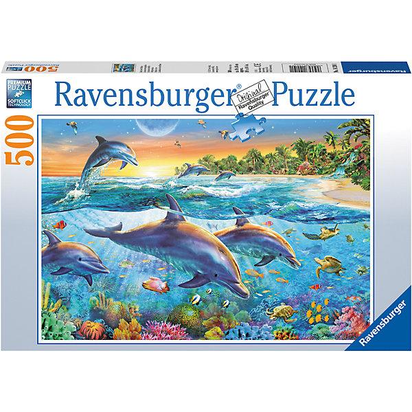 Пазл «Бухта дельфинов» 500 штПазлы до 500 деталей<br>Характеристики:<br><br>• тип игрушки: пазл;<br>• комплектация: 500 эл.;<br>• бренд: Ravensburger;<br>• упаковка: картон;<br>• размер: 34х4х23 см;<br>• вес: 579 гр;<br>• возраст: от 4 лет;<br>• материал: картон.<br><br>Пазл «Бухта дельфинов» 500 шт представляет из себя увлекательную игру для детей от четырех лет. Набор состоит из 500 деталей, выполненных из высококачественного картона. Из них предлагается собрать изображение дельфинов в воде.<br><br>Пазл сделан из плотного картона, с нанесением яркого красочного рисунка и аккуратной вырубкой деталей с четкими гладкими краями, которые позволяют легко состыковывать элементы пазла между собой. Сборка данного пазла сможет увлечь детей и поспособствовать развитию логического мышления и усидчивости.  Они также развивают образное мышление, наблюдательность и внимательность, а также мелкую моторику и координацию движений рук.<br><br>Пазл «Бухта дельфинов» 500 шт можно купить в нашем интернет-магазине.<br>Ширина мм: 340; Глубина мм: 40; Высота мм: 230; Вес г: 583; Возраст от месяцев: -2147483648; Возраст до месяцев: 2147483647; Пол: Унисекс; Возраст: Детский; SKU: 7376978;