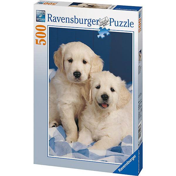 Пазл «Белые щенки» 500 штСимвол года<br>Характеристики:<br><br>• тип игрушки: пазл;<br>• комплектация: 500 эл;<br>• бренд: Ravensburger;<br>• упаковка: картон;<br>• размер: 34х4х23 см;<br>• вес: 587 гр;<br>• возраст: от 6 лет;<br>• материал: картон.<br><br>Пазл «Белые щенки» 500 элементов представляет из себя увлекательную игру для детей от шести лет. Набор состоит из 500 деталей, выполненных из высококачественного картона. Из них предлагается собрать изображение двух маленьких щенков породы лабрадор. Такой тандем станет настоящим украшением дома и будет повышать настроение при одном взгляде на него.     <br>Головоломки Ravensburger всегда отличаются высоким качеством полиграфии, изготовлены из экологичного сырья. Собранный пазл будет иметь матовую поверхность без бликов, потому как напечатан на качественной ламинированной бумаге. Пазл сделан из плотного картона, с нанесением красочного рисунка и аккуратной вырубкой деталей с четкими гладкими краями, которые позволяют легко состыковывать элементы пазла между собой. Сборка данного пазла сможет увлечь детей и поспособствовать развитию логического мышления и усидчивости.  Они также развивают образное мышление, наблюдательность и внимательность, а также мелкую моторику и координацию движений рук.<br>Пазл «Белые щенки» 500 элементов можно купить в нашем интернет-магазине.<br>Ширина мм: 340; Глубина мм: 40; Высота мм: 230; Вес г: 587; Возраст от месяцев: -2147483648; Возраст до месяцев: 2147483647; Пол: Унисекс; Возраст: Детский; SKU: 7376980;