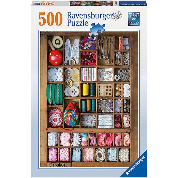 Пазл «Шкатулка для рукоделия» 500 штПазлы до 500 деталей<br>Характеристики:<br><br>• тип игрушки: пазл;<br>• комплектация: 500 эл.;<br>• бренд: Ravensburger;<br>• упаковка: картон;<br>• размер: 33,5х3,7х23,7 см;<br>• вес: 579 гр;<br>• возраст: от 4 лет;<br>• материал: картон.<br><br>Пазл «Шкатулка для рукоделия» 500 шт представляет из себя увлекательную игру для детей от четырех лет. Набор состоит из 500 деталей, выполненных из высококачественного картона. Из них предлагается собрать изображение набора для рукоделия, в который входят нитки, тесемки, пуговицы, ножницы, булавки и прочие мелочи.<br><br>Пазл сделан из плотного картона, с нанесением яркого красочного рисунка и аккуратной вырубкой деталей с четкими гладкими краями, которые позволяют легко состыковывать элементы пазла между собой. Сборка данного пазла сможет увлечь детей и поспособствовать развитию логического мышления и усидчивости.  Они также развивают образное мышление, наблюдательность и внимательность, а также мелкую моторику и координацию движений рук.<br><br>Пазл «Шкатулка для рукоделия» 500 шт можно купить в нашем интернет-магазине.<br>Ширина мм: 335; Глубина мм: 231; Высота мм: 37; Вес г: 579; Возраст от месяцев: -2147483648; Возраст до месяцев: 2147483647; Пол: Унисекс; Возраст: Детский; SKU: 7376984;