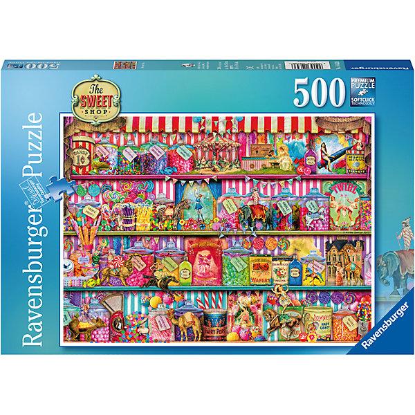 Пазл Кондитерский магазин 500 штПазлы классические<br>Характеристики:<br><br>• тип игрушки: пазл;<br>• комплектация: 500 эл;<br>• бренд: Ravensburger;<br>• упаковка: картон;<br>• размер: 34х4х23 см;<br>• вес: 2,549 кг;<br>• возраст: от 6 лет;<br>• материал: картон.<br><br>Пазл «Кондитерский магазин» 500 элементов представляет из себя увлекательную игру для детей от шести лет. Набор состоит из 500 деталей, выполненных из высококачественного картона. Из них предлагается собрать изображение витрины кондитерского магазина, которая наполнена различными конфетами, шоколадками и десертами. Картина получится настолько яркой и красочной, что неизменно будет радовать глаз и украсит любой интерьер.        <br>Головоломки Ravensburger всегда отличаются высоким качеством полиграфии, изготовлены из экологичного сырья. Собранный пазл будет иметь матовую поверхность без бликов, потому как напечатан на качественной ламинированной бумаге. Пазл сделан из плотного картона, с нанесением красочного рисунка и аккуратной вырубкой деталей с четкими гладкими краями, которые позволяют легко состыковывать элементы пазла между собой. Сборка данного пазла сможет увлечь детей и поспособствовать развитию логического мышления и усидчивости.  Они также развивают образное мышление, наблюдательность и внимательность, а также мелкую моторику и координацию движений рук.<br>Пазл «Кондитерский магазин» 500 элементов можно купить в нашем интернет-магазине.<br>Ширина мм: 340; Глубина мм: 40; Высота мм: 230; Вес г: 2549; Возраст от месяцев: -2147483648; Возраст до месяцев: 2147483647; Пол: Унисекс; Возраст: Детский; SKU: 7376992;