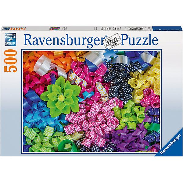 Пазл «Цветные ленты»  500штПазлы до 500 деталей<br>Характеристики:<br><br>• тип игрушки: пазл;<br>• комплектация: 500 эл.;<br>• бренд: Ravensburger;<br>• упаковка: картон;<br>• размер: 34х4х23 см;<br>• вес: 583 гр;<br>• возраст: от 4 лет;<br>• материал: картон.<br><br>Пазл «Цветные ленты»  500шт представляет из себя увлекательную игру для детей от четырех лет. Набор состоит из 500 деталей, выполненных из высококачественного картона. Из них предлагается собрать изображение ярких, цветных лент.<br><br>Пазл сделан из плотного картона, с нанесением яркого красочного рисунка и аккуратной вырубкой деталей с четкими гладкими краями, которые позволяют легко состыковывать элементы пазла между собой. Сборка данного пазла сможет увлечь детей и поспособствовать развитию логического мышления и усидчивости.  Они также развивают образное мышление, наблюдательность и внимательность, а также мелкую моторику и координацию движений рук.<br><br>Пазл «Цветные ленты»  500шт можно купить в нашем интернет-магазине.<br>Ширина мм: 340; Глубина мм: 40; Высота мм: 230; Вес г: 583; Возраст от месяцев: -2147483648; Возраст до месяцев: 2147483647; Пол: Унисекс; Возраст: Детский; SKU: 7376996;