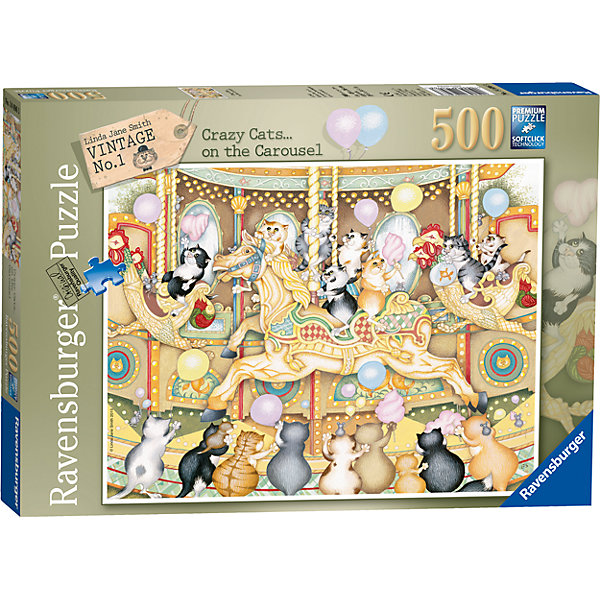 Пазл «Коты на карусели» 500 штПазлы до 500 деталей<br>Характеристики:<br><br>• тип игрушки: пазл;<br>• комплектация: 500 эл;<br>• бренд: Ravensburger;<br>• упаковка: картон;<br>• размер: 34х4х23 см;<br>• вес: 573 гр;<br>• возраст: от 6 лет;<br>• материал: картон.<br><br>Пазл «Коты на карусели» 500 элементов представляет из себя увлекательную игру для детей от шести лет. Набор состоит из 500 деталей, выполненных из высококачественного картона. Из них предлагается собрать изображение котят смых разных окрасов, которые катаются на красочной карусели. Картина получится настолько яркой и красочной, что неизменно будет радовать глаз и украсит любой интерьер.        <br>Головоломки Ravensburger всегда отличаются высоким качеством полиграфии, изготовлены из экологичного сырья. Собранный пазл будет иметь матовую поверхность без бликов, потому как напечатан на качественной ламинированной бумаге. Пазл сделан из плотного картона, с нанесением красочного рисунка и аккуратной вырубкой деталей с четкими гладкими краями, которые позволяют легко состыковывать элементы пазла между собой. Сборка данного пазла сможет увлечь детей и поспособствовать развитию логического мышления и усидчивости.  Они также развивают образное мышление, наблюдательность и внимательность, а также мелкую моторику и координацию движений рук.<br>Пазл «Коты на карусели» 500 элементов можно купить в нашем интернет-магазине.<br>Ширина мм: 340; Глубина мм: 40; Высота мм: 230; Вес г: 573; Возраст от месяцев: -2147483648; Возраст до месяцев: 2147483647; Пол: Унисекс; Возраст: Детский; SKU: 7376997;