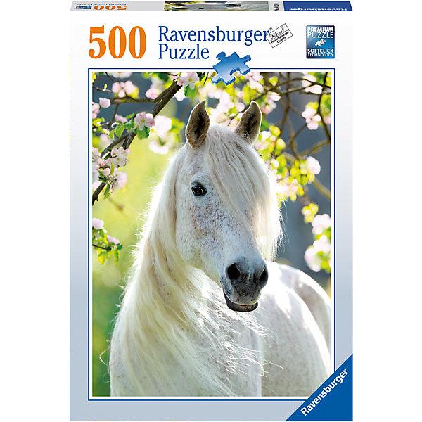 Пазл «Грациозная белая лошадь» 500 штПазлы классические<br>Характеристики:<br><br>• тип игрушки: пазл;<br>• комплектация: 500 эл.;<br>• бренд: Ravensburger;<br>• упаковка: картон;<br>• размер: 34х4х23 см;<br>• вес: 583 гр;<br>• возраст: от 4 лет;<br>• материал: картон.<br><br>Пазл «Грациозная белая лошадь» 500 шт представляет из себя увлекательную игру для детей от четырех лет. Набор состоит из 500 деталей, выполненных из высококачественного картона. Из них предлагается собрать изображение  красивой белой лошади.<br><br>Пазл сделан из плотного картона, с нанесением яркого красочного рисунка и аккуратной вырубкой деталей с четкими гладкими краями, которые позволяют легко состыковывать элементы пазла между собой. Сборка данного пазла сможет увлечь детей и поспособствовать развитию логического мышления и усидчивости.  Они также развивают образное мышление, наблюдательность и внимательность, а также мелкую моторику и координацию движений рук.<br><br>Пазл «Грациозная белая лошадь» 500 шт можно купить в нашем интернет-магазине.<br>Ширина мм: 230; Глубина мм: 40; Высота мм: 340; Вес г: 583; Возраст от месяцев: -2147483648; Возраст до месяцев: 2147483647; Пол: Унисекс; Возраст: Детский; SKU: 7377001;