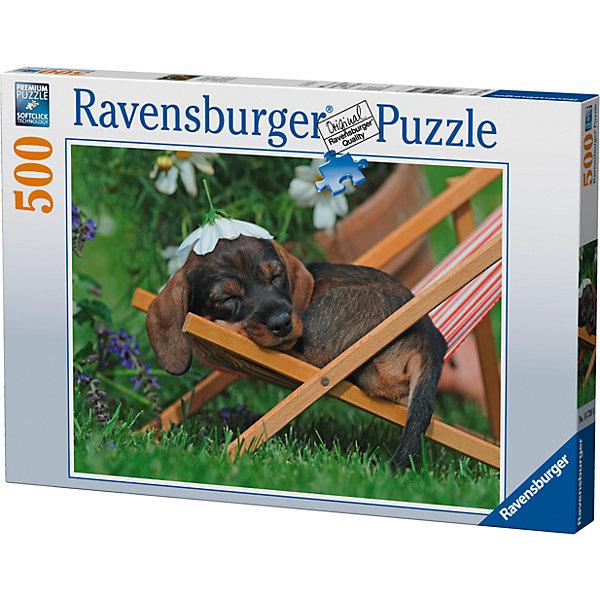 Пазл «Очаровательная такса» 500 штПазлы классические<br>Характеристики:<br><br>• тип игрушки: пазл;<br>• комплектация: 500 эл;<br>• бренд: Ravensburger;<br>• упаковка: картон;<br>• размер: 23х4х34 см;<br>• вес: 587 гр;<br>• возраст: от 6 лет;<br>• материал: картон.<br><br>Пазл «Очаровательная такса» 500 элементов представляет из себя увлекательную игру для детей от шести лет. Набор состоит из 500 деталей, выполненных из высококачественного картона. Из них предлагается собрать изображение маленького щенка породы такса, который мирно спит на шезлонге.    <br>Головоломки Ravensburger всегда отличаются высоким качеством полиграфии, изготовлены из экологичного сырья. Собранный пазл будет иметь матовую поверхность без бликов, потому как напечатан на качественной ламинированной бумаге. Пазл сделан из плотного картона, с нанесением красочного рисунка и аккуратной вырубкой деталей с четкими гладкими краями, которые позволяют легко состыковывать элементы пазла между собой. Сборка данного пазла сможет увлечь детей и поспособствовать развитию логического мышления и усидчивости.  Они также развивают образное мышление, наблюдательность и внимательность, а также мелкую моторику и координацию движений рук.<br>Пазл «Очаровательная такса» 500 элементов можно купить в нашем интернет-магазине.<br><br>Ширина мм: 230<br>Глубина мм: 40<br>Высота мм: 340<br>Вес г: 587<br>Возраст от месяцев: -2147483648<br>Возраст до месяцев: 2147483647<br>Пол: Унисекс<br>Возраст: Детский<br>SKU: 7377004