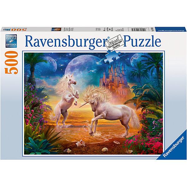 Пазл «Единороги на побережье» 500 штПазлы до 500 деталей<br>Характеристики:<br><br>• тип игрушки: пазл;<br>• комплектация: 500 эл.;<br>• бренд: Ravensburger;<br>• упаковка: картон;<br>• размер: 34х4х23 см;<br>• вес: 583 гр;<br>• возраст: от 4 лет;<br>• материал: картон.<br><br>Пазл «Единороги на побережье» 500 шт представляет из себя увлекательную игру для детей от четырех лет. Набор состоит из 500 деталей, выполненных из высококачественного картона. Из них предлагается собрать  два прекрасных единорога, весело играющих на берегу фантастического океана. Вдали видны стены сказочного замка.<br><br>Пазл сделан из плотного картона, с нанесением яркого красочного рисунка и аккуратной вырубкой деталей с четкими гладкими краями, которые позволяют легко состыковывать элементы пазла между собой. Сборка данного пазла сможет увлечь детей и поспособствовать развитию логического мышления и усидчивости.  Они также развивают образное мышление, наблюдательность и внимательность, а также мелкую моторику и координацию движений рук.<br><br>Пазл «Единороги на побережье» 500 шт можно купить в нашем интернет-магазине.<br>Ширина мм: 340; Глубина мм: 40; Высота мм: 230; Вес г: 583; Возраст от месяцев: -2147483648; Возраст до месяцев: 2147483647; Пол: Унисекс; Возраст: Детский; SKU: 7377005;