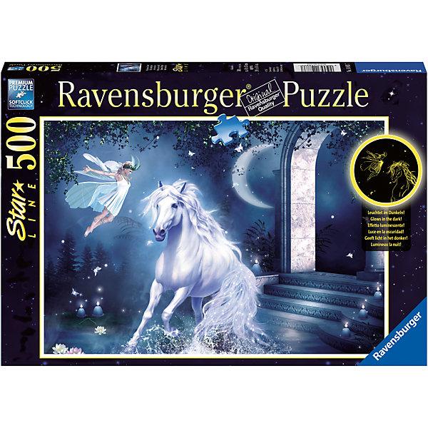 Пазл «Волшебная ночь» 500 штПазлы до 500 деталей<br>Характеристики:<br><br>• тип игрушки: пазл;<br>• комплектация: 500 эл;<br>• бренд: Ravensburger;<br>• упаковка: картон;<br>• размер: 34х4х23 см;<br>• вес: 571 гр;<br>• возраст: от 6 лет;<br>• материал: картон.<br><br>Пазл «Волшебная ночь» 500 элементов представляет из себя увлекательную игру для детей от шести лет. Набор состоит из 500 деталей, выполненных из высококачественного картона. Из них предлагается собрать изображение белоснежного единорога, который в лунну ночь пришел на встречу с красивой феей в белом платье.         <br>Головоломки Ravensburger всегда отличаются высоким качеством полиграфии, изготовлены из экологичного сырья. Собранный пазл будет иметь матовую поверхность без бликов, потому как напечатан на качественной ламинированной бумаге. Пазл сделан из плотного картона, с нанесением красочного рисунка и аккуратной вырубкой деталей с четкими гладкими краями, которые позволяют легко состыковывать элементы пазла между собой. Сборка данного пазла сможет увлечь детей и поспособствовать развитию логического мышления и усидчивости.  Они также развивают образное мышление, наблюдательность и внимательность, а также мелкую моторику и координацию движений рук.<br>Пазл «Волшебная ночь» 500 элементов можно купить в нашем интернет-магазине.<br>Ширина мм: 340; Глубина мм: 40; Высота мм: 230; Вес г: 571; Возраст от месяцев: -2147483648; Возраст до месяцев: 2147483647; Пол: Унисекс; Возраст: Детский; SKU: 7377022;