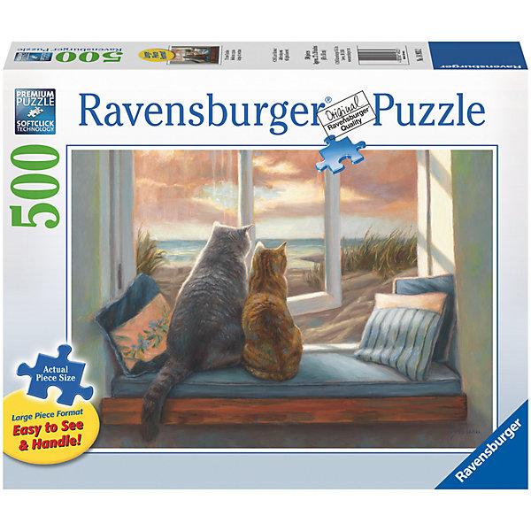 Пазл «Друзья у окна» 500 штПазлы классические<br>Характеристики:<br><br>• тип игрушки: пазл;<br>• комплектация: 500 эл.;<br>• бренд: Ravensburger;<br>• упаковка: картон;<br>• размер: 47х6х33 см;<br>• вес: 881 гр;<br>• возраст: от 4 лет;<br>• материал: картон.<br><br>Пазл «Друзья у окна» 500 шт представляет из себя увлекательную игру для детей от четырех лет. Набор состоит из 500 деталей, выполненных из высококачественного картона. Из них предлагается собрать  изображение котиков, смотрящих в окно.<br> <br>Пазл сделан из плотного картона, с нанесением яркого красочного рисунка и аккуратной вырубкой деталей с четкими гладкими краями, которые позволяют легко состыковывать элементы пазла между собой. Сборка данного пазла сможет увлечь детей и поспособствовать развитию логического мышления и усидчивости.  Они также развивают образное мышление, наблюдательность и внимательность, а также мелкую моторику и координацию движений рук. Собранную картинку можно поместить в рамку и использовать ее в качестве украшения интерьера.<br><br>Пазл «Друзья у окна» 500 шт можно купить в нашем интернет-магазине.<br><br>Ширина мм: 470<br>Глубина мм: 60<br>Высота мм: 330<br>Вес г: 881<br>Возраст от месяцев: -2147483648<br>Возраст до месяцев: 2147483647<br>Пол: Унисекс<br>Возраст: Детский<br>SKU: 7377025