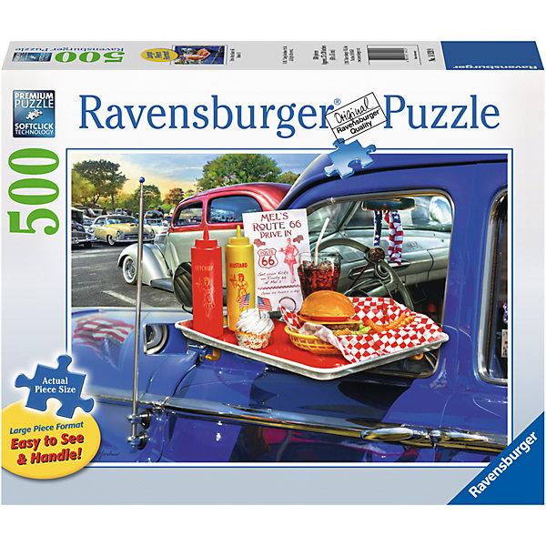 Пазл «На шоссе 66» 500 штПазлы классические<br>Характеристики:<br><br>• тип игрушки: пазл;<br>• комплектация: 500 эл.;<br>• бренд: Ravensburger;<br>• упаковка: картон;<br>• размер: 34х4х23 см;<br>• вес: 881 гр;<br>• возраст: от 4 лет;<br>• материал: картон.<br><br>Пазл «На шоссе 66» 500 шт представляет из себя увлекательную игру для детей от четырех лет. Набор состоит из 500 деталей, выполненных из высококачественного картона. Из них предлагается собрать  изображение ретро-автомобилей и словно перенестись в далекие 60е годы XX столетия. Усталый водитель ярко-синей машины решил перекусить гамбургером, порцией мороженного и выпить стакан колы со людом. <br><br>Пазл сделан из плотного картона, с нанесением яркого красочного рисунка и аккуратной вырубкой деталей с четкими гладкими краями, которые позволяют легко состыковывать элементы пазла между собой. Сборка данного пазла сможет увлечь детей и поспособствовать развитию логического мышления и усидчивости.  Они также развивают образное мышление, наблюдательность и внимательность, а также мелкую моторику и координацию движений рук. Собранную картинку можно поместить в рамку и использовать ее в качестве украшения интерьера.<br><br>Пазл «На шоссе 66» 500 шт можно купить в нашем интернет-магазине.<br>Ширина мм: 340; Глубина мм: 40; Высота мм: 230; Вес г: 881; Возраст от месяцев: -2147483648; Возраст до месяцев: 2147483647; Пол: Унисекс; Возраст: Детский; SKU: 7377031;