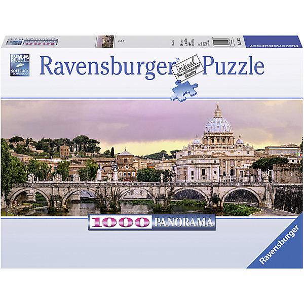 Пазл панорамный Рим 1000 штПазлы до 1000 деталей<br>Характеристики:<br><br>• тип игрушки: пазл;<br>• комплектация: 1000 эл.;<br>• бренд: Ravensburger;<br>• упаковка: картон;<br>• размер: 37х5,5х27 см;<br>• вес: 1 кг;<br>• возраст: от 4 лет;<br>• материал: картон.<br><br>Пазл панорамный «Рим» 1000 шт представляет из себя увлекательную игру для детей от четырех лет. Набор состоит из 1000 деталей, выполненных из высококачественного картона. Из них предлагается собрать  изображение изысканного города Рима.<br><br>Пазл сделан из плотного картона, с нанесением яркого красочного рисунка и аккуратной вырубкой деталей с четкими гладкими краями, которые позволяют легко состыковывать элементы пазла между собой. Сборка данного пазла сможет увлечь детей и поспособствовать развитию логического мышления и усидчивости.  Они также развивают образное мышление, наблюдательность и внимательность, а также мелкую моторику и координацию движений рук. Собранную картинку можно поместить в рамку и использовать ее в качестве украшения интерьера.<br><br>Пазл панорамный «Рим» 1000 шт можно купить в нашем интернет-магазине.<br>Ширина мм: 370; Глубина мм: 55; Высота мм: 270; Вес г: 1000; Возраст от месяцев: -2147483648; Возраст до месяцев: 2147483647; Пол: Унисекс; Возраст: Детский; SKU: 7377034;