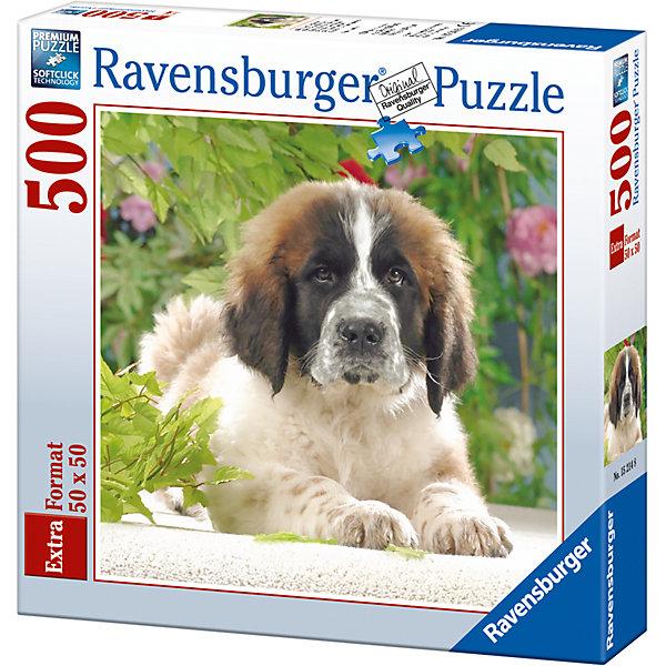 Пазл «Щенок сенбернара» 500 штСимвол года<br>Характеристики:<br><br>• тип игрушки: пазл;<br>• комплектация: 500 эл.;<br>• бренд: Ravensburger;<br>• упаковка: картон;<br>• размер: 37х5,5х27 см;<br>• вес: 673 гр;<br>• возраст: от 4 лет;<br>• материал: картон.<br><br>Пазл «Щенок сенбернара» 500 шт представляет из себя увлекательную игру для детей от четырех лет. Набор состоит из 500 деталей, выполненных из высококачественного картона. Из них предлагается собрать  изображение красивого щенка.<br><br>Пазл сделан из плотного картона, с нанесением яркого красочного рисунка и аккуратной вырубкой деталей с четкими гладкими краями, которые позволяют легко состыковывать элементы пазла между собой. Сборка данного пазла сможет увлечь детей и поспособствовать развитию логического мышления и усидчивости.  Они также развивают образное мышление, наблюдательность и внимательность, а также мелкую моторику и координацию движений рук. Собранную картинку можно поместить в рамку и использовать ее в качестве украшения интерьера.<br><br>Пазл «Щенок сенбернара» 500 шт можно купить в нашем интернет-магазине.<br>Ширина мм: 370; Глубина мм: 55; Высота мм: 270; Вес г: 673; Возраст от месяцев: -2147483648; Возраст до месяцев: 2147483647; Пол: Унисекс; Возраст: Детский; SKU: 7377041;