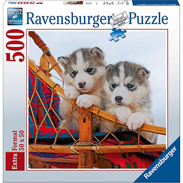 Пазл «Щенки хаски» 500 штСимвол года<br>Характеристики:<br><br>• тип игрушки: пазл;<br>• комплектация: 500 эл.;<br>• бренд: Ravensburger;<br>• упаковка: картон;<br>• размер: 37х5,5х27 см;<br>• вес: 673 гр;<br>• возраст: от 4 лет;<br>• материал: картон.<br><br>Пазл «Щенки хаски» 500 шт представляет из себя увлекательную игру для детей от четырех лет. Набор состоит из 500 деталей, выполненных из высококачественного картона. Из них предлагается собрать  изображение милых щенков хаски.<br><br>Пазл сделан из плотного картона, с нанесением яркого красочного рисунка и аккуратной вырубкой деталей с четкими гладкими краями, которые позволяют легко состыковывать элементы пазла между собой. Сборка данного пазла сможет увлечь детей и поспособствовать развитию логического мышления и усидчивости.  Они также развивают образное мышление, наблюдательность и внимательность, а также мелкую моторику и координацию движений рук. Собранную картинку можно поместить в рамку и использовать ее в качестве украшения интерьера.<br><br>Пазл «Щенки хаски» 500 шт можно купить в нашем интернет-магазине.<br>Ширина мм: 370; Глубина мм: 55; Высота мм: 270; Вес г: 673; Возраст от месяцев: -2147483648; Возраст до месяцев: 2147483647; Пол: Унисекс; Возраст: Детский; SKU: 7377045;