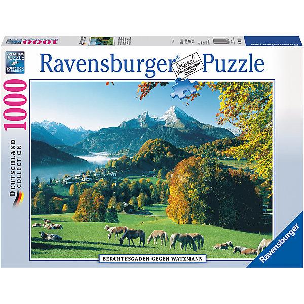 Пазл «Берхтесгаден» 1000 штПазлы классические<br>Характеристики:<br><br>• тип игрушки: пазл;<br>• комплектация: 1000 эл.;<br>• бренд: Ravensburger;<br>• упаковка: картон;<br>• размер: 37х5,5х27 см;<br>• вес: 963 гр;<br>• возраст: от 4 лет;<br>• материал: картон.<br><br>Пазл «Берхтесгаден» 1000 шт представляет из себя увлекательную игру для детей от четырех лет. Набор состоит из 1000 деталей, выполненных из высококачественного картона. Из них предлагается собрать  изображение прекрасного осеннего пейзажа, где на зеленых лугах спокойно пасутся кони, и вдалеке белеют горы.<br><br>Пазл сделан из плотного картона, с нанесением яркого красочного рисунка и аккуратной вырубкой деталей с четкими гладкими краями, которые позволяют легко состыковывать элементы пазла между собой. Сборка данного пазла сможет увлечь детей и поспособствовать развитию логического мышления и усидчивости.  Они также развивают образное мышление, наблюдательность и внимательность, а также мелкую моторику и координацию движений рук. Собранную картинку можно поместить в рамку и использовать ее в качестве украшения интерьера.<br><br>Пазл «Берхтесгаден» 1000 шт можно купить в нашем интернет-магазине.<br>Ширина мм: 370; Глубина мм: 55; Высота мм: 270; Вес г: 963; Возраст от месяцев: -2147483648; Возраст до месяцев: 2147483647; Пол: Унисекс; Возраст: Детский; SKU: 7377050;