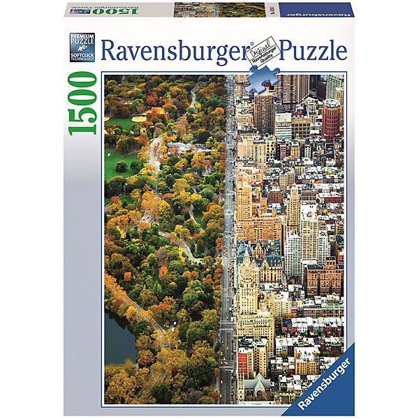 Пазл «Лес и Нью-Йорк» 1500 штПазлы до 2000 деталей<br>Характеристики:<br><br>• тип игрушки: пазл;<br>• комплектация: 1500 эл.;<br>• бренд: Ravensburger;<br>• упаковка: картон;<br>• размер: 27х6х37 см;<br>• вес: 1,1 кг;<br>• возраст: от 4 лет;<br>• материал: картон.<br><br>Пазл «Лес и Нью-Йорк» 1500 шт представляет из себя увлекательную игру для детей от четырех лет. Набор состоит из 1500 деталей, выполненных из высококачественного картона. Из них предлагается собрать  изображение границы города Нью-Йорк, за которой сразу же начинается красивый осенний лес.<br><br>Пазл сделан из плотного картона, с нанесением яркого красочного рисунка и аккуратной вырубкой деталей с четкими гладкими краями, которые позволяют легко состыковывать элементы пазла между собой. Сборка данного пазла сможет увлечь детей и поспособствовать развитию логического мышления и усидчивости.  Они также развивают образное мышление, наблюдательность и внимательность, а также мелкую моторику и координацию движений рук. Собранную картинку можно поместить в рамку и использовать ее в качестве украшения интерьера.<br><br>Пазл «Лес и Нью-Йорк» 1500 шт можно купить в нашем интернет-магазине.<br>Ширина мм: 370; Глубина мм: 60; Высота мм: 270; Вес г: 1106; Возраст от месяцев: -2147483648; Возраст до месяцев: 2147483647; Пол: Унисекс; Возраст: Детский; SKU: 7377057;