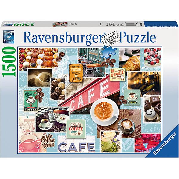 Пазл «Кофе и сладости» 1500 штПазлы классические<br>Характеристики:<br><br>• тип игрушки: пазл;<br>• комплектация: 1500 эл.;<br>• бренд: Ravensburger;<br>• упаковка: картон;<br>• размер: 27х9х37 см;<br>• вес: 1,1 кг;<br>• возраст: от 4 лет;<br>• материал: картон.<br><br>Пазл «Кофе и сладости» 1500 шт представляет из себя увлекательную игру для детей от четырех лет. Набор состоит из 1500 деталей, выполненных из высококачественного картона. Из них предлагается собрать  изображение коллажа из множества фотографий уютных кафе, столиков, чашек с ароматным кофе, различных сладостей и конфет, кофейных зерен и винтажных вывесок. Большой пазл подходит как для детей, так и для взрослых.<br><br>Пазл сделан из плотного картона, с нанесением яркого красочного рисунка и аккуратной вырубкой деталей с четкими гладкими краями, которые позволяют легко состыковывать элементы пазла между собой. Сборка данного пазла сможет увлечь детей и поспособствовать развитию логического мышления и усидчивости.  Они также развивают образное мышление, наблюдательность и внимательность, а также мелкую моторику и координацию движений рук. Собранную картинку можно поместить в рамку и использовать ее в качестве украшения интерьера.<br><br>Пазл «Кофе и сладости» 1500 шт можно купить в нашем интернет-магазине.<br>Ширина мм: 370; Глубина мм: 90; Высота мм: 270; Вес г: 1106; Возраст от месяцев: -2147483648; Возраст до месяцев: 2147483647; Пол: Унисекс; Возраст: Детский; SKU: 7377072;
