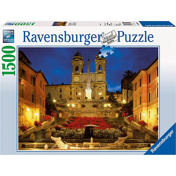 Пазл «Испанская лестница в Риме» 1500 штПазлы до 2000 деталей<br>Характеристики:<br><br>• тип игрушки: пазл;<br>• комплектация: 1500 эл.;<br>• бренд: Ravensburger;<br>• упаковка: картон;<br>• размер: 27х11х37 см;<br>• вес: 1,1 кг;<br>• возраст: от 4 лет;<br>• материал: картон.<br><br>Пазл «Испанская лестница в Риме» 1500 шт представляет из себя увлекательную игру для детей от четырех лет. Набор состоит из 1500 деталей, выполненных из высококачественного картона. Из них предлагается собрать  изображение знаменитой лестницы, украшенной цветами и освещенную ярким электрическим светом. Большой пазл подходит как для детей, так и для взрослых.<br><br>Пазл сделан из плотного картона, с нанесением яркого красочного рисунка и аккуратной вырубкой деталей с четкими гладкими краями, которые позволяют легко состыковывать элементы пазла между собой. Сборка данного пазла сможет увлечь детей и поспособствовать развитию логического мышления и усидчивости.  Они также развивают образное мышление, наблюдательность и внимательность, а также мелкую моторику и координацию движений рук. Собранную картинку можно поместить в рамку и использовать ее в качестве украшения интерьера.<br><br>Пазл «Испанская лестница в Риме» 1500 шт можно купить в нашем интернет-магазине.<br><br>Ширина мм: 370<br>Глубина мм: 110<br>Высота мм: 270<br>Вес г: 1106<br>Возраст от месяцев: -2147483648<br>Возраст до месяцев: 2147483647<br>Пол: Унисекс<br>Возраст: Детский<br>SKU: 7377076