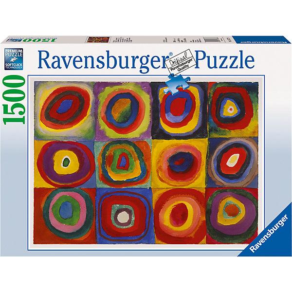 Пазл «Кандинский: цветной эскиз» 1500 штПазлы классические<br>Характеристики:<br><br>• тип игрушки: пазл;<br>• комплектация: 1500 эл.;<br>• бренд: Ravensburger;<br>• упаковка: картон;<br>• размер: 27х11,5х37 см;<br>• вес: 1,1 кг;<br>• возраст: от 4 лет;<br>• материал: картон.<br><br>Пазл «Кандинский: цветной эскиз» 1500 шт представляет из себя увлекательную игру для детей от четырех лет. Набор состоит из 1500 деталей, выполненных из высококачественного картона. Из них предлагается собрать  изображение множества разноцветных квадратов, внутри которых находятся концентрические круги. Картина выглядит ярко и интересно. Большой пазл подходит как для детей, так и для взрослых.<br><br>Пазл сделан из плотного картона, с нанесением яркого красочного рисунка и аккуратной вырубкой деталей с четкими гладкими краями, которые позволяют легко состыковывать элементы пазла между собой. Сборка данного пазла сможет увлечь детей и поспособствовать развитию логического мышления и усидчивости.  Они также развивают образное мышление, наблюдательность и внимательность, а также мелкую моторику и координацию движений рук. Собранную картинку можно поместить в рамку и использовать ее в качестве украшения интерьера.<br><br>Пазл «Кандинский: цветной эскиз» 1500 шт можно купить в нашем интернет-магазине.<br>Ширина мм: 370; Глубина мм: 115; Высота мм: 270; Вес г: 1106; Возраст от месяцев: -2147483648; Возраст до месяцев: 2147483647; Пол: Унисекс; Возраст: Детский; SKU: 7377077;
