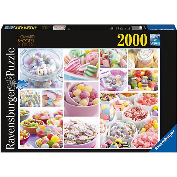 Пазл Сладости 2000 штПазлы классические<br>Характеристики:<br><br>• тип игрушки: пазл;<br>• комплектация: 2000 эл.;<br>• бренд: Ravensburger;<br>• упаковка: картон;<br>• размер: 43х6х30 см;<br>• вес: 1,55 кг;<br>• возраст: от 4 лет;<br>• материал: картон.<br><br>Пазл «Сладости» 2000 шт представляет из себя увлекательную игру для детей от четырех лет. Набор состоит из 2000 деталей, выполненных из высококачественного картона. Из них предлагается собрать  изображение аппетитных сладостей. Большой пазл подходит как для детей, так и для взрослых.<br><br>Пазл сделан из плотного картона, с нанесением яркого красочного рисунка и аккуратной вырубкой деталей с четкими гладкими краями, которые позволяют легко состыковывать элементы пазла между собой. Сборка данного пазла сможет увлечь детей и поспособствовать развитию логического мышления и усидчивости.  Они также развивают образное мышление, наблюдательность и внимательность, а также мелкую моторику и координацию движений рук. Собранную картинку можно поместить в рамку и использовать ее в качестве украшения интерьера.<br><br>Пазл «Сладости» 2000 шт можно купить в нашем интернет-магазине.<br>Ширина мм: 430; Глубина мм: 60; Высота мм: 300; Вес г: 1572; Возраст от месяцев: -2147483648; Возраст до месяцев: 2147483647; Пол: Унисекс; Возраст: Детский; SKU: 7377089;
