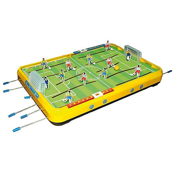 Настольная игра Мини-футболСпортивные настольные игры<br>Характеристики товара:<br><br>• возраст: от 3 лет;<br>• тип: механическая<br>• материал: пластик;<br>• размер: 45х35х12 см;<br>• вес: 3070 гр.;<br>• страна производства: Россия.<br><br>Настольный Мини-футбол не следует в точности правилам современной игры, но он вырабатывает меткость, точность движений, развивает быстроту реакции. <br>Его основным элементом по-прежнему является игровое поле с воротами, обрамлённое барьером. <br><br>На поле размещены двое ворот, располагаются две футбольные команды, в каждой по 6 игроков: вратарь, центральный, правый и левый нападающие, два защитника. <br><br>На игроков перед игрой нужно наклеить липкую аппликацию. Движение футболистов происходит за счет металлических стержней, с помощью которых футболисты так же могут поворачиваться вокруг своей оси.  Довольно простое управление позволяет играть в «Мини-футбол» даже маленьким детям. Эта игра станет любимой игрой всей семьи. <br><br>В нее можно играть не только вдвоем, но и целой компанией, где каждый либо нападающий, либо защитник, либо вратарь, либо судья, либо просто болельщик.<br>В любом случае, «Мини-футбол» - это очень захватывающая, интересная игра, которая не позволит скучать никому!<br><br>Игру Мини-футбол можно купить в нашем интернет-магазине.<br>Ширина мм: 745; Глубина мм: 480; Высота мм: 95; Вес г: 3070; Возраст от месяцев: 36; Возраст до месяцев: 120; Пол: Унисекс; Возраст: Детский; SKU: 7377660;