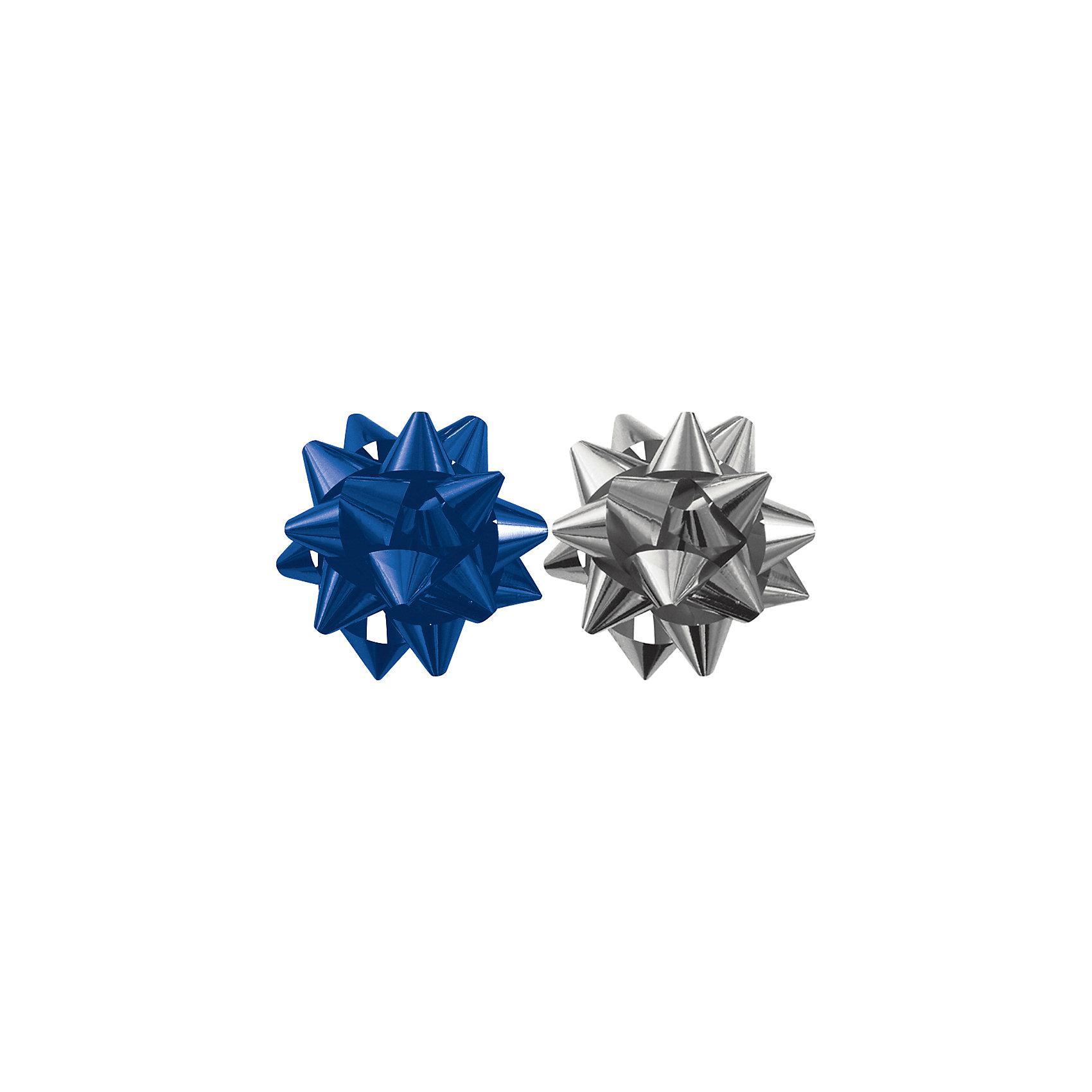 Бант-звезда, 2 штуки в PP пакете с подвесом (синий, серебряный) от myToys