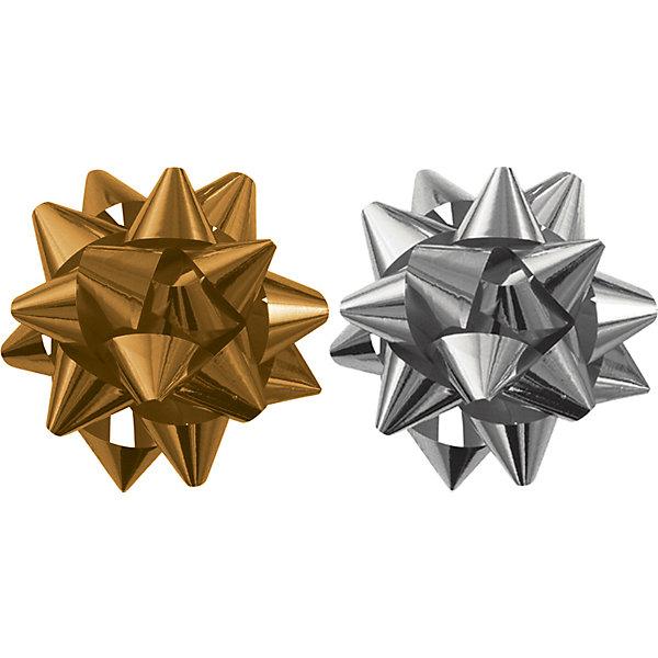 Бант-звезда, 2 штуки в PP пакете (золотой, серебряный).Новогодние подарочные ленты<br>Характеристики:<br><br>• вес: 10г.;<br>• материал:  металлизированное покрытие;<br>• размер упаковки: 9х9х0,5см.;<br>• для детей в возрасте: от 3 лет.;<br>• страна производитель: Россия.<br><br>Набор металлизированных бантов-звёзд золотого и серебрянного цвета, в пакете с подвесом бренда «Regalissimi» (Регалисими) станет прекрасным украшением упаковки любого детского подарка.Он создан из высококачественных, экологически чистых материалов, что очень важно для детских товаров.<br><br> Оформление для подарочной упаковки разработано итальянскими дизайнерами и пользуется неизменно высоким спросом на протяжении нескольких лет. Коллекции созданы с учётом цветовой гармонизации ряда, что позволяет оформлять подарки в едином стиле. <br>                  <br>Набор металлизированных бантов-звёзд, можно купить в нашем интернет-магазине.<br>Ширина мм: 90; Глубина мм: 90; Высота мм: 5; Вес г: 10; Возраст от месяцев: 36; Возраст до месяцев: 2147483647; Пол: Унисекс; Возраст: Детский; SKU: 7377696;