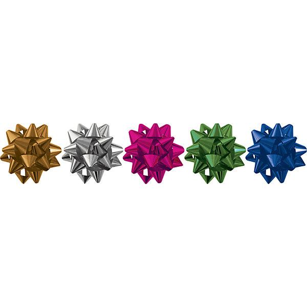 Набор из 5-и металлизированых бантов-звезд RegalissimiУпаковка новогоднего подарка<br>Характеристики:<br><br>• вес: 10г.;<br>• материал:  фольга;<br>• размер упаковки: 8х3х1см.;<br>• для детей в возрасте: от 3 лет.;<br>• страна производитель: Россия.<br><br>Набор из пяти металлизированных бантов-звёзд разного цвета, в пакете с подвесом бренда «Regalissimi» (Регалисими) станет прекрасным украшением упаковки любого детского подарка.Он создан из высококачественных, экологически чистых материалов, что очень важно для детских товаров.<br><br> Оформление для подарочной упаковки разработано итальянскими дизайнерами и пользуется неизменно высоким спросом на протяжении нескольких лет. Коллекции созданы с учётом цветовой гармонизации ряда, что позволяет оформлять подарки в едином стиле.    <br>               <br>Набор из пяти металлизированных бантов-звёзд, можно купить в нашем интернет-магазине.<br><br>Ширина мм: 80<br>Глубина мм: 300<br>Высота мм: 10<br>Вес г: 10<br>Возраст от месяцев: 36<br>Возраст до месяцев: 2147483647<br>Пол: Унисекс<br>Возраст: Детский<br>SKU: 7377707