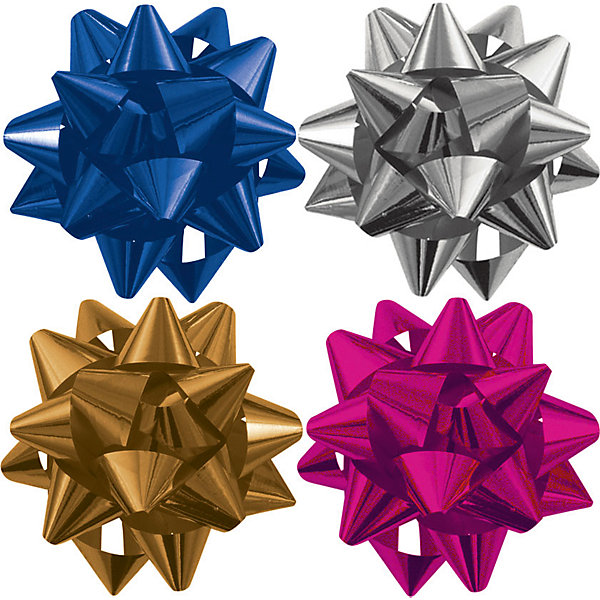 Бант-звезда, 4 штуки в PP пакете с подвесом, цвета в ассортиментеНовогодние подарочные ленты<br>Характеристики:<br><br>• вес: 17г.;<br>• материал: металлизированное покрытие;<br>• размер упаковки: 9х9х0,5см.;<br>• для детей в возрасте: от 3 лет.;<br>• страна производитель: Россия.<br><br>Набор из четырёх металлизированных бантов-звёзд разного цвета, в пакете с подвесом бренда «Regalissimi» (Регалисими) станет прекрасным украшением упаковки любого детского подарка.Он создан из высококачественных, экологически чистых материалов, что очень важно для детских товаров.<br><br> Оформление для подарочной упаковки разработано итальянскими дизайнерами и пользуется неизменно высоким спросом на протяжении нескольких лет. Коллекции созданы с учётом цветовой гармонизации ряда, что позволяет оформлять подарки в едином стиле.    <br>               <br>Набор из четырёх металлизированных бантов-звёзд, можно купить в нашем интернет-магазине.<br><br>Ширина мм: 90<br>Глубина мм: 90<br>Высота мм: 5<br>Вес г: 17<br>Возраст от месяцев: 36<br>Возраст до месяцев: 2147483647<br>Пол: Унисекс<br>Возраст: Детский<br>SKU: 7377710