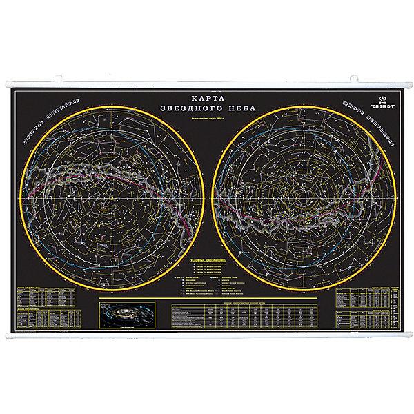 Карта Звездное небо 156х101 на рейкахАтласы и карты<br>Характеристики:<br><br>• возраст: от 6 лет;<br>• материал: ламинированная бумага;<br>• упаковка: картонный тубус;<br>• размер: 156х101 см;<br>• крепление: рейки, крючки;<br>• вес упаковки: 939 гр.;<br>• размер упаковки: 162х5,6х5,6 см;<br>• издательство: DMB;<br>• страна производитель: Россия.<br><br>Карта «Звездное небо» изображает его северное и южное полушария. Черный фон помогает лучше различить космические объекты. На карте можно увидеть все основные звезды, планеты и созвездия, Туманность Андромеды.<br><br>Любителям необычных скоплений звезд понравятся выделенные зодиакальные созвездия. Поверхность карты ламинирована с нанесением антибликового покрытия.<br><br>Защитный слой на бумаге предотвратит выцветание и механическое повреждение. Карта интуитивно понятна, с ней интересно изучать мир астрономии, повесив ее на стену с помощью специальных реек и крючков.<br><br>Карту «Звездное небо» 156х101 на рейках можно купить в нашем интернет-магазине.<br>Ширина мм: 1620; Глубина мм: 56; Высота мм: 56; Вес г: 939; Возраст от месяцев: 36; Возраст до месяцев: 144; Пол: Унисекс; Возраст: Детский; SKU: 7378608;