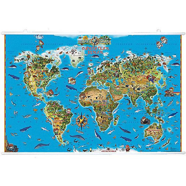 Карта Мира Обитетели Земли на рейкахАтласы и карты<br>Характеристики:<br><br>• возраст: от 3 лет;<br>• материал: ламинированная бумага;<br>• упаковка: картонный тубус;<br>• крепление: рейки, крючки;<br>• размер: 116х79 см;<br>• вес упаковки: 755гр.;<br>• размер упаковки: 142х5,6х5,6 см;<br>• издательство: DMB;<br>• страна производитель: Россия.<br><br>На карте мира изображены всевозможные животные в соответствии с их местом обитания на нашей планете. Благодаря красочному детальному оформлению ребенку будет проще и интересней запоминать разные названия, изучать каждый сантиметр карты.<br><br>Поверхность карты ламинирована с нанесением антибликового покрытия. Защитный слой на бумаге предотвращает выцветание, механическое повреждение и обесцвечивание. Карта интуитивно понятна, а работать с ней будет еще удобнее, повесив ее на стену с помощью реек и крючков. Для удобной переноски предусмотрен твердый тубус из картона.<br><br>Карту мира «Обитатели Земли» на рейках можно купить в нашем интернет-магазине.<br>Ширина мм: 1420; Глубина мм: 56; Высота мм: 56; Вес г: 755; Возраст от месяцев: 36; Возраст до месяцев: 144; Пол: Унисекс; Возраст: Детский; SKU: 7378610;