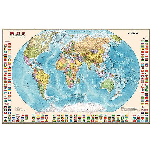 Карта Мира, Политическая с флагами 1:30МАтласы и карты<br>Характеристики:<br><br>• возраст: от 3 лет;<br>• материал: ламинированная бумага;<br>• масштаб: 1:30 000 000;<br>• упаковка: картонный тубус;<br>• размер: 122х79 см;<br>• вес упаковки: 339 гр.;<br>• размер упаковки: 96х5,6х5,6 см;<br>• издательство: DMB;<br>• страна производитель: Россия.<br><br>Карта мира с отображением стран, столиц, больших городов поможет в изучении названий населенных пунктов Земли и их принадлежности. По краям расположены флаги всех государств с обозначением.<br><br>Политическая карта расширяет кругозор, тренирует память и внимательность. Ламинированное покрытие с антибликом бережет карту от выцветания и порчи. Формат карты делает ее полезным украшением стены. Для удобной переноски предусмотрен твердый тубус из картона.<br><br>Карту мира, политическую с флагами 1:30М можно купить в нашем интернет-магазине.<br>Ширина мм: 960; Глубина мм: 56; Высота мм: 56; Вес г: 339; Возраст от месяцев: 36; Возраст до месяцев: 144; Пол: Унисекс; Возраст: Детский; SKU: 7378613;