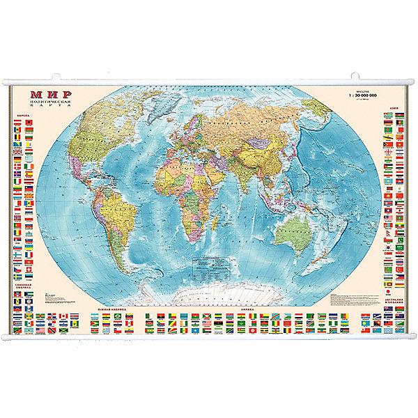 Карта Мира, Политическая с флагами 1:30М на рейкахАтласы и карты<br>Характеристики:<br><br>• возраст: от 3 лет;<br>• материал: ламинированная бумага;<br>• масштаб: 1:30 000 000;<br>• упаковка: картонный тубус;<br>• крепление: рейки, крючки;<br>• размер: 122х79 см;<br>• вес упаковки: 709 гр.;<br>• размер упаковки: 130х5,6х5,6 см;<br>• издательство: DMB;<br>• страна производитель: Россия.<br><br>Карта мира с отображением стран, столиц, больших городов поможет в изучении названий населенных пунктов Земли и их принадлежности. По краям расположены флаги всех государств с обозначением.<br><br>Политическая карта расширяет кругозор, тренирует память и внимательность. Ламинированное покрытие с антибликом бережет карту от выцветания и порчи. Формат карты делает ее полезным украшением стены. Крепление легко осуществляется с помощью реек и крючков. Для удобной переноски предусмотрен твердый тубус из картона.<br><br>Карту мира, политическую с флагами 1:30М на рейках можно купить в нашем интернет-магазине.<br>Ширина мм: 1300; Глубина мм: 56; Высота мм: 56; Вес г: 709; Возраст от месяцев: 36; Возраст до месяцев: 144; Пол: Унисекс; Возраст: Детский; SKU: 7378614;
