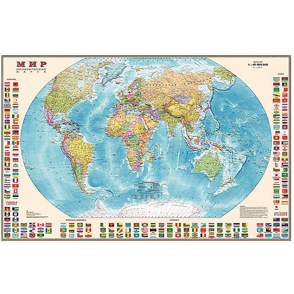 Карта Мира, Политическая с флагами 1:40МАтласы и карты<br>Характеристики:<br><br>• возраст: от 3 лет;<br>• материал: ламинированная бумага;<br>• масштаб: 1:40 000 000;<br>• упаковка: картонный тубус;<br>• размер: 90х58 см;<br>• вес упаковки: 195 гр.;<br>• размер упаковки: 62х5,6х5,6 см;<br>• издательство: DMB;<br>• страна производитель: Россия.<br><br>Карта мира с отображением стран, столиц, больших городов поможет в изучении названий населенных пунктов Земли и их принадлежности. По краям расположены флаги всех государств с обозначением.<br><br>Политическая карта расширяет кругозор, тренирует память и внимательность. Ламинированное покрытие с антибликом бережет карту от выцветания и порчи. Плотная мелованная бумага 150 гр./кв.м. отлично переносит механическое воздействие, передает полноцветную печать. Формат карты делает ее полезным украшением стены. Для удобной переноски предусмотрен твердый тубус из картона.<br><br>Карту мира, политическую с флагами 1:40М можно купить в нашем интернет-магазине.<br><br>Ширина мм: 620<br>Глубина мм: 56<br>Высота мм: 56<br>Вес г: 195<br>Возраст от месяцев: 36<br>Возраст до месяцев: 144<br>Пол: Унисекс<br>Возраст: Детский<br>SKU: 7378615