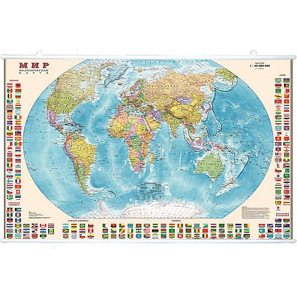 Карта Мира, Политическая с флагами 1:40МАтласы и карты<br>Характеристики:<br><br>• возраст: от 3 лет;<br>• материал: ламинированная бумага;<br>• масштаб: 1:40 000 000;<br>• упаковка: картонный тубус;<br>• размер: 90х58 см;<br>• вес упаковки: 266 гр.;<br>• размер упаковки: 62х5,6х5,6 см;<br>• издательство: DMB;<br>• страна производитель: Россия.<br><br>Карта мира с отображением стран, столиц, больших городов поможет в изучении названий населенных пунктов Земли и их принадлежности. По краям расположены флаги всех государств с обозначением.<br><br>Политическая карта расширяет кругозор, тренирует память и внимательность. Ламинированное покрытие с антибликом бережет карту от выцветания и порчи. Формат карты делает ее полезным украшением стены. Для удобной переноски предусмотрен твердый тубус из картона.<br><br>Карту мира, политическую с флагами 1:40М можно купить в нашем интернет-магазине.<br>Ширина мм: 620; Глубина мм: 56; Высота мм: 56; Вес г: 266; Возраст от месяцев: 36; Возраст до месяцев: 144; Пол: Унисекс; Возраст: Детский; SKU: 7378617;