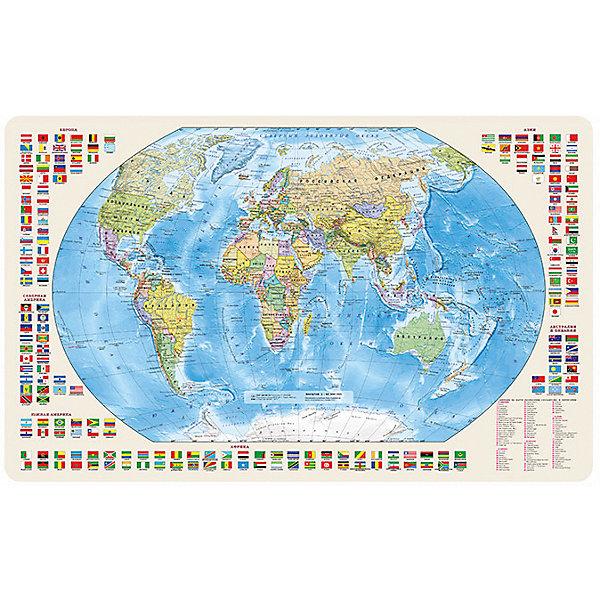 Карта Мира, Политическая с флагами 1:85М с магнитными креплениямиАтласы и карты<br>Характеристики:<br><br>• возраст: от 3 лет;<br>• материал: бумага, металл;<br>• масштаб: 1:85 000 000;<br>• крепление: магнитное;<br>• размер: 54х37 см;<br>• вес упаковки: 55 гр.;<br>• размер упаковки: 45х2,8х4 см;<br>• издательство: DMB.<br>• страна производитель: Россия.<br><br>Карта мира с отображением стран, столиц, больших городов поможет в изучении названий населенных пунктов Земли и их принадлежности. По краям расположены флаги всех государств с обозначением. Политическая карта расширяет кругозор, тренирует память и внимательность. Формат карты позволяет сделать ее настольной или повесить на стену, флипчарт, холодильник и т.д. Магниты на оборотной стороне помогут прикрепить карту к любой металлической поверхности.<br><br>Карту мира, политическую с флагами 1:85М с магнитными креплениями можно купить в нашем интернет-магазине.<br>Ширина мм: 450; Глубина мм: 28; Высота мм: 4; Вес г: 55; Возраст от месяцев: 36; Возраст до месяцев: 144; Пол: Унисекс; Возраст: Детский; SKU: 7378618;