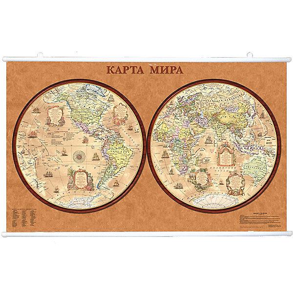 Карта Мира, Политическая, Полушария стиль Ретро 1:34М на рейкахАтласы и карты<br>Характеристики:<br><br>• возраст: от 3 лет;<br>• материал: ламинированная бумага;<br>• масштаб: 1:34 000 000;<br>• крепление: рейки, крючки;<br>• упаковка: картонный тубус;<br>• размер: 122х79 см;<br>• вес упаковки: 751 гр.;<br>• размер упаковки: 130х5,6х5,6 см;<br>• издательство: DMB;<br>• страна производитель: Россия.<br><br>Современная карта мира на полушариях выполнена в ретро стиле, что делает ее отличным настенным украшением для дома или офиса. Крепление легко осуществляется с помощью реек с крючками. Политическая карта с отображением стран, столиц, больших городов поможет в изучении названий населенных пунктов Земли и их принадлежности.<br><br>Изучение географии расширяет кругозор и тренирует память. Ламинированное покрытие с антибликом бережет карту от выцветания и порчи. Для удобной переноски предусмотрен твердый тубус из картона.<br><br>Карту мира, политическую, полушария стиль ретро, 1:34М на рейках можно купить к нашем интернет-магазине.<br>Ширина мм: 1300; Глубина мм: 56; Высота мм: 56; Вес г: 751; Возраст от месяцев: 36; Возраст до месяцев: 144; Пол: Унисекс; Возраст: Детский; SKU: 7378622;