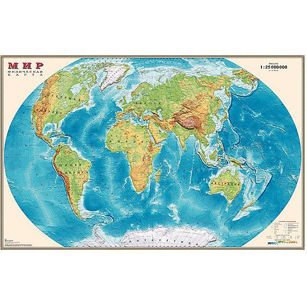 Карта Мира, Физическая, 1:25МАтласы и карты<br>Характеристики:<br><br>• возраст: от 3 лет;<br>• материал: ламинированная бумага;<br>• масштаб: 1:25 000 000;<br>• упаковка: картонный тубус;<br>• размер: 122х79 см;<br>• вес упаковки: 334 гр.;<br>• размер упаковки: 96х5,6х5,6 см;<br>• издательство: DMB;<br>• страна производитель: Россия.<br><br>На физической карте мира изображены рельефы земной поверхности, отметки высот и глубин, вечные льды, горы, океаны, реки и множество других объектов ландшафта планеты. Изучение карты расширяет кругозор и знания географии. Формат карты делает ее отличным украшением стены дома или в офисе. Ламинированное покрытие с антибликом бережет карту от выцветания и порчи. Для удобной переноски предусмотрен твердый тубус из картона.<br><br>Карту мира, физическую, 1:25М можно купить в нашем интернет-магазине.<br><br>Ширина мм: 960<br>Глубина мм: 56<br>Высота мм: 56<br>Вес г: 334<br>Возраст от месяцев: 36<br>Возраст до месяцев: 144<br>Пол: Унисекс<br>Возраст: Детский<br>SKU: 7378625