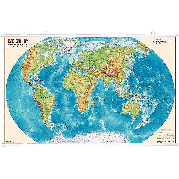 Карта Мира, Физическая 1:35М на рейкахАтласы и карты<br>Характеристики:<br><br>• возраст: от 3 лет;<br>• материал: ламинированная бумага;<br>• масштаб: 1:35 000 000;<br>• крепление: рейки, крючки;<br>• упаковка: картонный тубус;<br>• размер: 90х58 см;<br>• вес упаковки: 570 гр.;<br>• размер упаковки: 96х5,6х5,6 см;<br>• издательство: DMB;<br>• страна производитель: Россия.<br><br>На физической карте мира изображены рельефы земной поверхности, отметки высот и глубин, вечные льды, горы, океаны, реки и множество других объектов ландшафта планеты. Изучение карты расширяет кругозор и знания географии. Формат карты делает ее отличным настенным украшением дома или в офисе. Крепление легко осуществляется с помощью реек с крючками. Ламинированное покрытие с антибликом бережет карту от выцветания и порчи. Для удобной переноски предусмотрен твердый тубус из картона.<br><br>Карту мира, физическую, 1:35М на рейках можно купить в нашем интернет-магазине.<br>Ширина мм: 960; Глубина мм: 56; Высота мм: 56; Вес г: 570; Возраст от месяцев: 36; Возраст до месяцев: 144; Пол: Унисекс; Возраст: Детский; SKU: 7378628;
