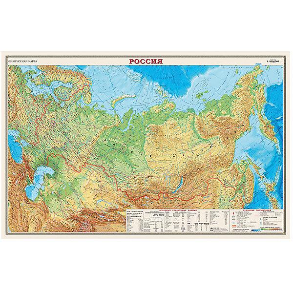 Карта России, Физическая, 1:9,5МАтласы и карты<br>Характеристики:<br><br>• возраст: от 3 лет;<br>• материал: ламинированная бумага;<br>• масштаб: 1:9 500 000;<br>• упаковка: картонный тубус;<br>• размер: 90х58 см;<br>• вес упаковки: 206 гр.;<br>• размер упаковки: 62х5,6х5,6 см;<br>• издательство: DMB;<br>• страна производитель: Россия.<br><br>Карта Российской Федерации отображает физическое устройство земли на территории государства. Здесь изображены рельефы земной поверхности, отметки высот и глубин, вечные льды, горы, океаны, реки и множество других объектов ландшафта.<br><br>Занятия с этой картой расширяют знания о России, помогают в изучении географии. Карту можно использовать настольно или повесить на стену дома или в офисе. Ламинированное покрытие исключает появление бликов, выгорание и истирание изображения. Для удобной переноски предусмотрен твердый тубус из картона.<br><br>Карту России, физическую, 1:9,5М можно купить в нашем интернет-магазине.<br>Ширина мм: 620; Глубина мм: 56; Высота мм: 56; Вес г: 206; Возраст от месяцев: 36; Возраст до месяцев: 144; Пол: Унисекс; Возраст: Детский; SKU: 7378631;