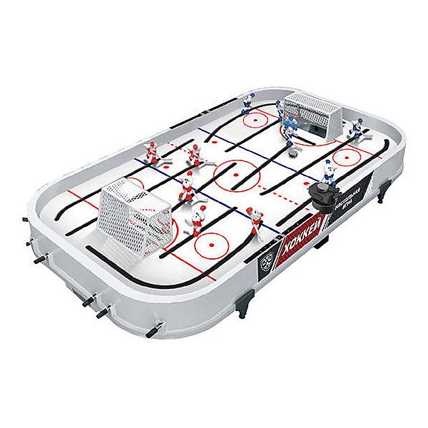 Хоккей настольный КХЛСпортивные настольные игры<br>Характеристики:<br><br>• возраст: от 4 лет<br>• комплектация: игровое поле, 12 фигурок игроков, шайбы, съемные ворота<br>• количество рычагов управления: 12<br>• материал: металл, пластик<br>• упаковка: картонная коробка<br>• размер упаковки: 59x8x35 см.<br>• вес: 1,7 кг.<br><br>Настольный хоккей КХЛ от бренда Abtoys непременно увлечет любого непоседливого мальчишку и позволит ему с интересом провести свое свободное время. В процессе игры дети смогут проявить не только азарт, но и меткость, координацию движений и внимательность. Кроме того, игра отлично развивает глазомер и тренирует реакцию и ловкость рук.<br><br>Игровое поле с профессиональной разметкой не имеет «мёртвых» зон. На поле представлены две команды хоккеистов, окрашенных в разные цвета: 10 полевых игроков и два вратаря. Фигурки хоккеистов окрашены очень реалистично. Каждый игрок закреплен на поле с помощью специальных направляющих. Управление фигурками осуществляется рычажками с мягкими резиновыми накладками на концах, что способствуют надежному и удобному захвату.<br><br>Корпус игры выполнен из пластика высочайшего качества, устойчивого к механическим повреждениям.<br><br>Хоккей настольный КХЛ можно купить в нашем интернет-магазине.<br>Ширина мм: 590; Глубина мм: 80; Высота мм: 350; Вес г: 1700; Возраст от месяцев: 48; Возраст до месяцев: 120; Пол: Унисекс; Возраст: Детский; SKU: 7378688;