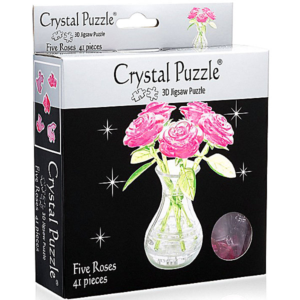 3D головоломка Букет в вазе розовый3D пазлы<br>Характеристики:<br><br>• возраст: от 12 лет;<br>• материал: пластик;<br>• в комплекте: 41 деталь, инструкция;<br>• сложность: 4;<br>• высота готовой фигуры: 15,2 см;<br>• вес упаковки: 237 гр.;<br>• размер упаковки: 17,5х14х4,5 см;<br>• страна производитель: Китай.<br><br>3D головоломка «Букет в вазе» от Crystal Puzzle — не только увлекательное занятие для детей и взрослых, но и отличное украшение интерьера. Готовая фигура изображает очаровательные розы, которые никогда не увянут. Помещены они в прозрачную вазочку.<br><br>Каждый цветок и сосуд собираются отдельно. Сделать это можно с помощью подбора элементов по форме и размерам или обратиться к инструкции, что облегчит задачу. Сборка объемного пазла развивает пространственное мышление и логику, а также ловкость рук. Головоломка выполнена из безопасного пластика.<br><br>3D головоломку «Букет в вазе» розовый можно купить в нашем интернет-магазине.<br>Ширина мм: 175; Глубина мм: 140; Высота мм: 45; Вес г: 165; Возраст от месяцев: 144; Возраст до месяцев: 2147483647; Пол: Женский; Возраст: Детский; SKU: 7378703;