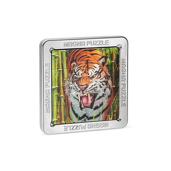 3D Magna пазл Тигр3D пазлы<br>Характеристики:<br><br>• возраст: от 8 лет;<br>• материал: металл;<br>• в комплекте: 16 деталей, металлическая коробка, инструкция;<br>• вес упаковки: 200 гр.;<br>• размер упаковки: 14,5х14,5х18 см;<br>• страна производитель: Великобритания.<br><br>Яркое красочное изображение, которое нужно собрать собственными руками! Собранный 3D Magna пазл «Тигр» от Cheatwell станет прекрасным дополнением к интерьеру и заворожит взгляды гостей дома.<br><br>Составить пазл не так просто, как может показаться вначале. Каждая деталь отражает объемное изображение, которое меняется под разным углом обзора. Чтобы соединить картинку воедино, понадобится вся внимательность. Облегчит задачу металлическая коробка, на которую и сложатся магнитные части головоломки.<br><br>Игра порадует любителей необычных вещей, улучшит концентрацию, внимание и ловкость рук.<br><br>3D Magna пазл «Тигр» можно купить в нашем интернет-магазине.<br><br>Ширина мм: 145<br>Глубина мм: 145<br>Высота мм: 180<br>Вес г: 200<br>Возраст от месяцев: 96<br>Возраст до месяцев: 2147483647<br>Пол: Унисекс<br>Возраст: Детский<br>SKU: 7378734