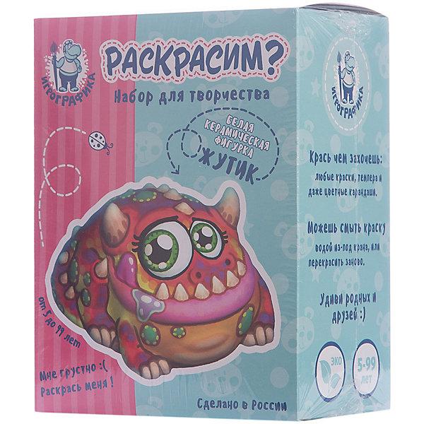 Керамическая фигурка-раскраска ЖутикНаборы для росписи<br>Характеристики:<br><br>• возраст: от 5 лет;<br>• материал: керамика;<br>• в комплекте: белая керамическая фигурка, кисточка, краски 6 цветов;<br>• вес упаковки: 350 гр.;<br>• размер упаковки: 14,5х19х9 см;<br>• страна производитель: Россия.<br><br>Керамическая фигурка-раскраска «Жутик» — находка для развития творческих способностей ребенка и интересного времяпровождения. Перед малышом стоит задача раскрасить фигурку на свой вкус. <br><br>В процессе занятия можно комбинировать цвета, наносить краски разными слоями, смешивать их, и даже использовать любые другие красящие предметы: карандаши, фломастеры, мелки. Поверхность фигурки принимает любой краситель. При желании ее можно помыть и заново раскрасить удобной кисточкой из набора.<br><br>Материалы совершенно безопасны для ребенка. Готовая фигурка станет памятным сувениром из детства или подарком для близких.<br><br>Керамическую фигурку-раскраску «Жутик» можно купить в нашем интернет-магазине.<br><br>Ширина мм: 145<br>Глубина мм: 190<br>Высота мм: 90<br>Вес г: 350<br>Возраст от месяцев: 60<br>Возраст до месяцев: 2147483647<br>Пол: Унисекс<br>Возраст: Детский<br>SKU: 7378747