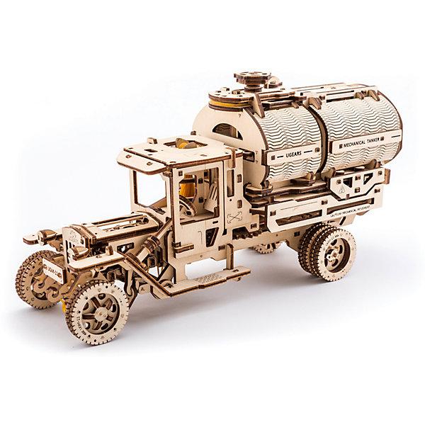 Конструктор 3D-пазл Ugears - АвтоцистернаДеревянные модели<br>Характеристики товара:<br><br>• в комплекте: детали пазла, моторчик;<br>• количество деталей: 594;<br>• возраст: от 14 лет;<br>• материал: фанера;<br>• время сборки: 14-16 часов;<br>• размер модели: 33х18х12,5 см;<br>• размер упаковки: 37,2х17х5,7 см;<br>• страна бренда: Украина.<br><br>Любители моделирования и конструирования по достоинству оценят набор «Автоцистерна» от Ugears. Данный 3D-пазл состоит из 594 деталей, изготовленных из экологически чистой древесины. Для сборки не требуется клей, все детали готовы к работе, их не нужно вырезать. В комплект входит подробная инструкция, которая подскажет, как правильно соединять детали и управлять машиной.<br><br>Готовая автоцистерна может двигаться и перевозить грузы. Машина передвигается с помощью моторчика, движется в трех направлениях. Поворачивая руль, можно выбирать направление движения автоцистерны. Сама цистерна открывается и закрывается, в ней можно перевозить различные грузы.<br><br>Конструктор 3D-пазл Ugears (Югерс) - Автоцистерна можно купить в нашем интернет-магазине.<br>Ширина мм: 372; Глубина мм: 170; Высота мм: 57; Вес г: 1916; Возраст от месяцев: 168; Возраст до месяцев: 2147483647; Пол: Унисекс; Возраст: Детский; SKU: 7378816;