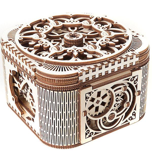 Конструктор 3D-пазл Ugears - Шкатулка с секретомДеревянные модели<br>Характеристики товара:<br><br>• количество деталей: 354;<br>• возраст: от 14 лет;<br>• материал: фанера;<br>• время сборки: 2-3 часа;<br>• размер модели: 14х14х9 см;<br>• размер упаковки: 37,3х17х3,3 см;<br>• страна бренда: Украина.<br><br>Конструктор 3D-пазл «Шкатулка с секретом» подарит много незабываемых эмоций во время сборки, а готовая шкатулка украсит интерьер комнаты и надежно сохранит любимые вещи. Для сборки модели не потребуется клей. Детали вырезаны и полостью готовы к работе. Шкатулка состоит из 354 элементов, изготовленных из фанеры.<br><br>Готовую шкатулку можно открыть с помощью ключа. Ключ располагается в ажурной крышечке, которую необходимо повернуть по часовой стрелке. После этого достаточно повернуть ключ, и шкатулка откроется.<br><br>Конструктор 3D-пазл Ugears (Югерс) - Шкатулка с секретом можно купить в нашем интернет-магазине.<br>Ширина мм: 370; Глубина мм: 170; Высота мм: 33; Вес г: 869; Возраст от месяцев: 168; Возраст до месяцев: 2147483647; Пол: Унисекс; Возраст: Детский; SKU: 7378819;