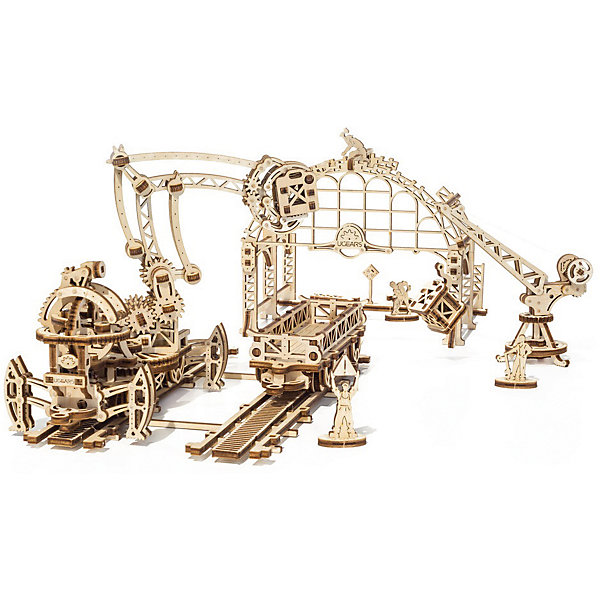 Конструктор 3D-пазл Ugears - Манипулятор на рельсахДеревянные модели<br>Характеристики товара:<br><br>• количество деталей: 354;<br>• возраст: от 14 лет;<br>• материал: фанера;<br>• время сборки: 8-10 часов;<br>• размер модели: 45х50х21 см;<br>• размер упаковки: 37х14х3 см;<br>• страна бренда: Украина.<br><br>Конструктор 3D-пазл «Манипулятор на рельсах» состоит из манипулятора, двух пролетов рельсов, строящегося ангара, двух грузовых ящиков, подъемного крана, грузового вагончика и пяти фигурок персонажей. В набор входят 354 детали, изготовленные из экологически чистых материалов. При сборке конструктора не требуются дополнительные инструменты и клей. В комплект входит подробная инструкция с описанием сборки элементов и целой модели.<br><br>Подвижная клешня манипулятора надежно закрепляется на поворотной платформе, способной передвигаться по рельсам вперед и назад. Управлять клешней манипулятора можно при помощи трех рычагов. Стрела подъемного крана меняет угол наклона. Кузов подъемного крана вращается. Вагончик передвигается по рельсам, его борта откидываются. В вагончик можно положить два ящика с дверцами или подъемный кран в разобранном виде.<br><br>Конструктор 3D-пазл Ugears (Югерс) - Манипулятор на рельсах можно купить в нашем интернет-магазине.<br>Ширина мм: 370; Глубина мм: 140; Высота мм: 30; Вес г: 665; Возраст от месяцев: 168; Возраст до месяцев: 2147483647; Пол: Унисекс; Возраст: Детский; SKU: 7378821;